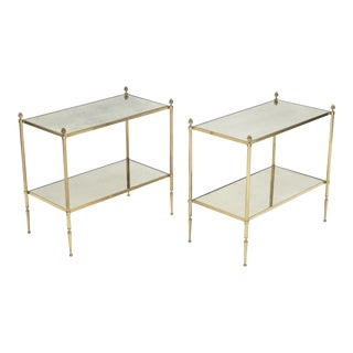 Pair of French Maison Bagues Brass Mirrored Two-Tier End Tables 1950s For Sale