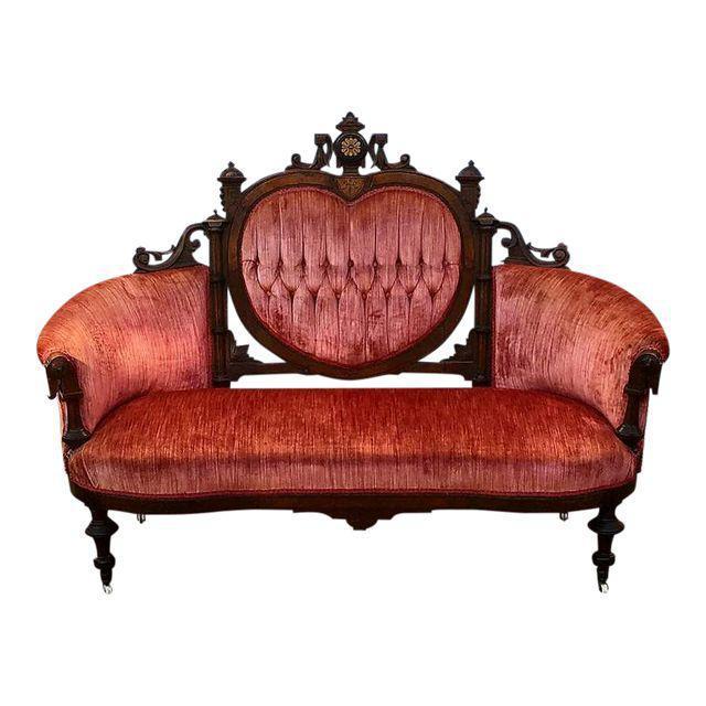 Antique Eastlake Heart Back Red Velvet Settee U0026 Chairs  Set Of 3   Image