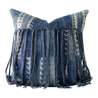 "Boho Chic Fringe Indigo Pillow Cover - 18"" X 18"" For Sale"