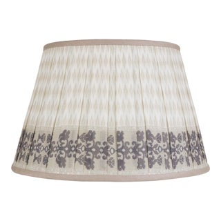 "Pleated Printed Shade with Border 14"" Tan For Sale"