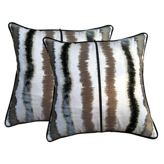 Silky Velvety Iridescent Striped Throw Pillows With Decorative Zippers - a Pair