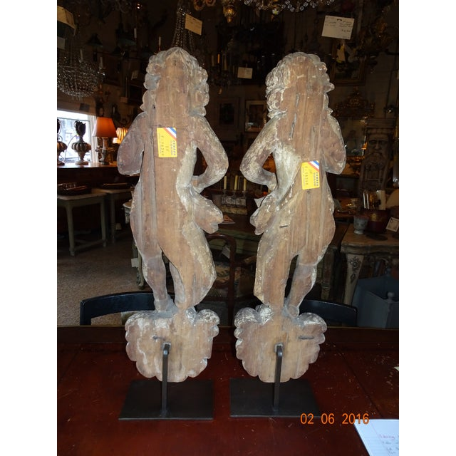 Beige Pair of 18th Century French Architectural Cherubs For Sale - Image 8 of 10