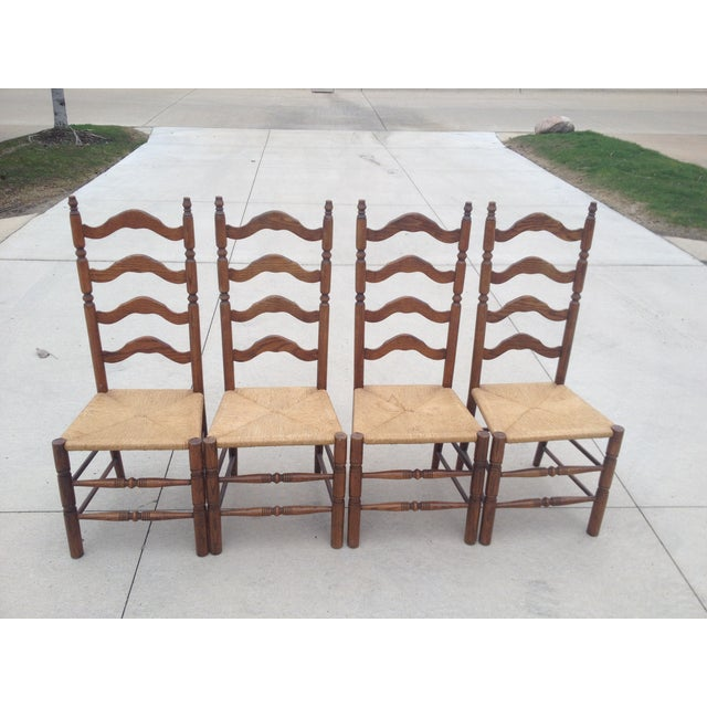 Vintage Tall Ladder Dining Chairs - Set of 4 - Image 2 of 10