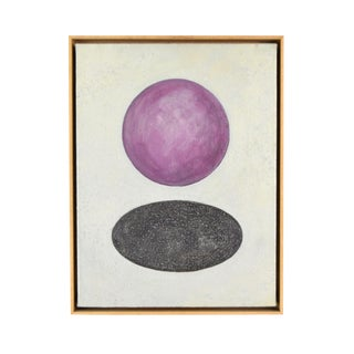 Vintage 80s Modernist Abstract Oil Painting Purple Ball Above Hole For Sale