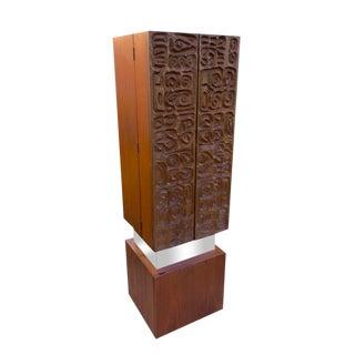 1960s Vintage Paul Evans Style Mid-Century Modern Wine Cabinet For Sale