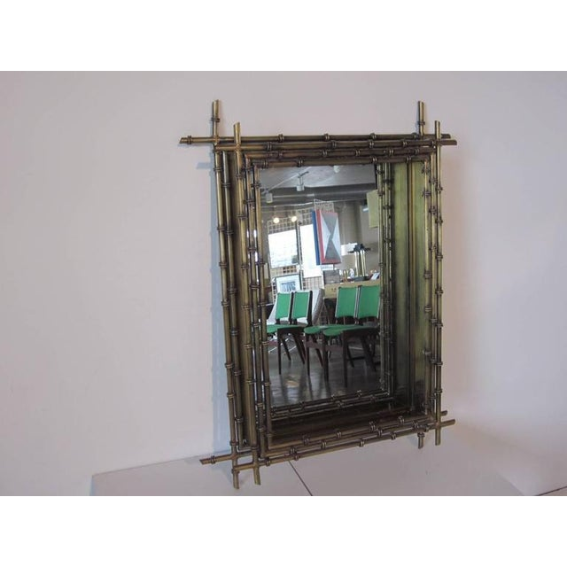 1980s Curtis Jere Faux Gold Gilt Wall Mirror For Sale - Image 5 of 5