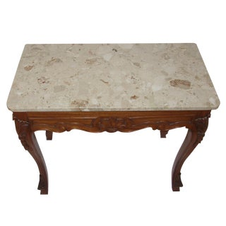 1990s Vintage French Provincial Style Marble Top Console/Side Table For Sale