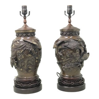 Meiji Period Bronze Lamps - a Pair For Sale
