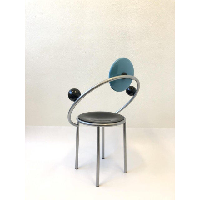 1980s Set of Six Italian Memphis Dining Chairs by Michele De Lucchi For Sale - Image 5 of 11