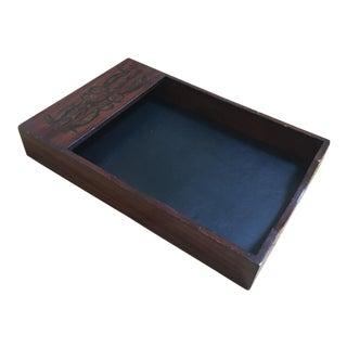 Walnut Tabletop Paper Holder For Sale
