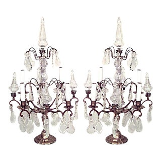 French Louis XV Bronze and Crystal Candelabra - a Pair For Sale