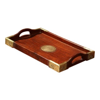 Mid-20th Century Chinese Rosewood Tray with Brass Mounts and Medallion