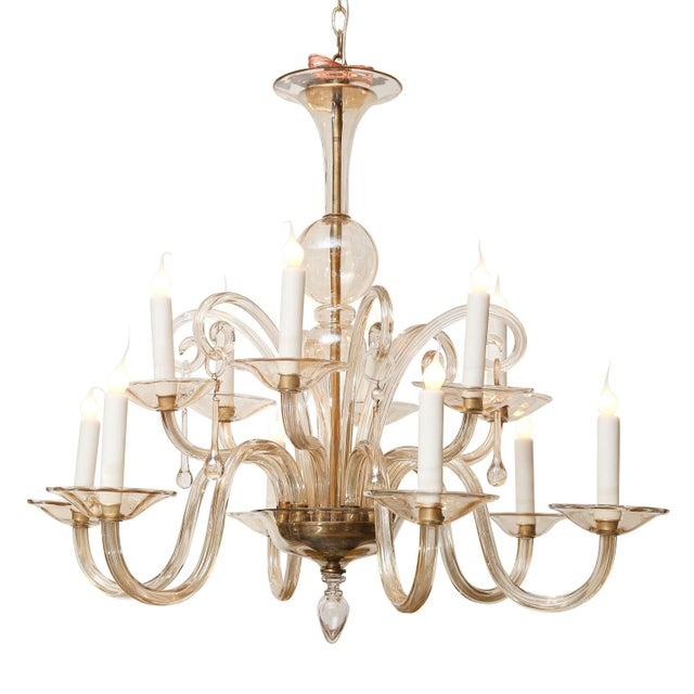 1950s Vintage Italian Glass Chandelier For Sale - Image 5 of 9