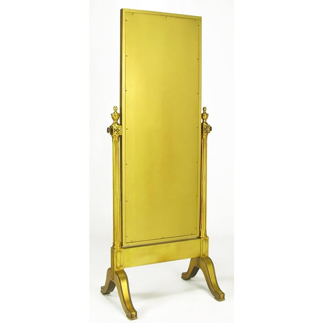 Gilt Wood Neoclassical Full Length Cheval Floor Mirror - Image 5 of 8
