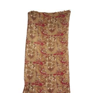 Antique 1890s French Cretonne Gothic Design Cotton Fabric - 2.88 Yards For Sale