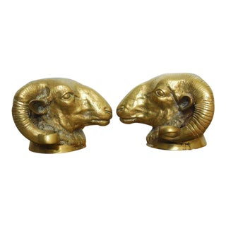 Pair of Patinated Brass Ram's Head Sculptures For Sale