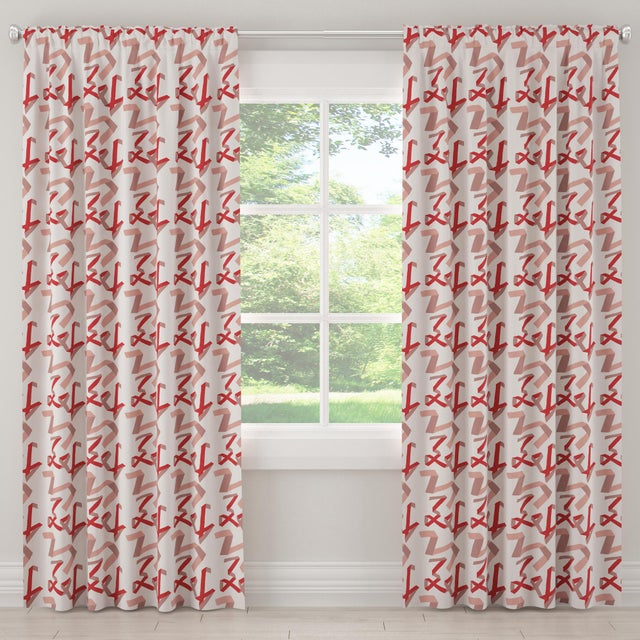 """Contemporary 96"""" Blackout Curtain in Pink & Red Ribbon by Angela Chrusciaki Blehm for Chairish For Sale - Image 3 of 7"""