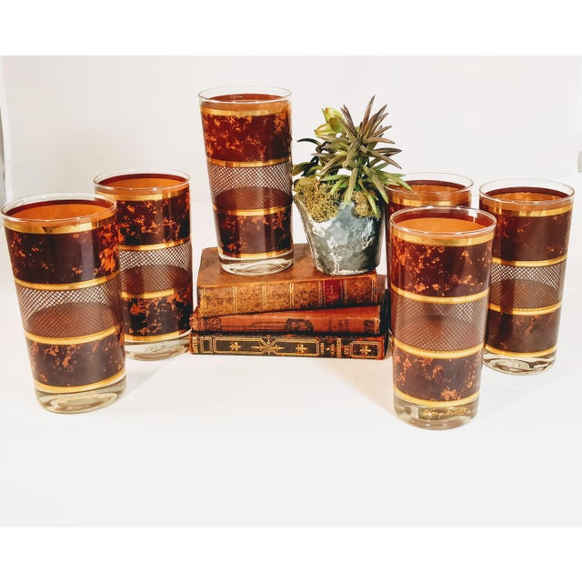 Mid 20th Century Vintage Georges Briard Tortoiseshell Lattice Design Highball Glasses - Set of 6 For Sale - Image 5 of 8