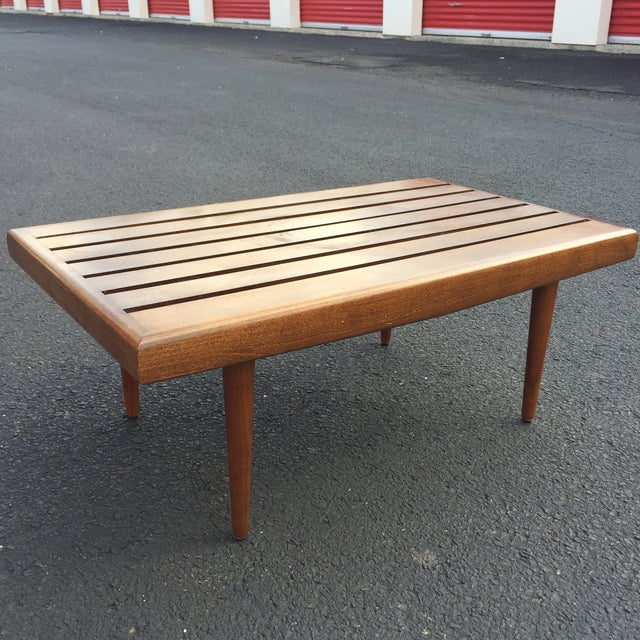 Mid-century Walnut Slat Rectangular End Table - Image 2 of 7