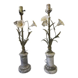 1970s Floral Italian Tole Lamps on Gray Marble - a Pair For Sale