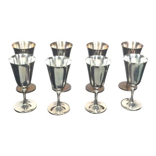 1970s Deuberti Modern Boxed Italian Silverplate Champagne and Wine Goblets - Set of 16 For Sale
