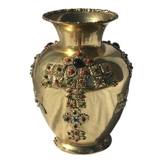 Mid 20th Century Beaded Brass Vase For Sale
