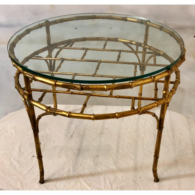 Italian 1970s gilt metal faux bamboo coffee table with removable glass top.