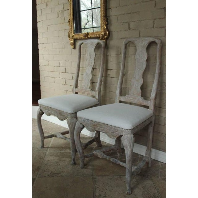 Pair of 18th Century Swedish Rococo Period Side Chairs For Sale In Wichita - Image 6 of 11