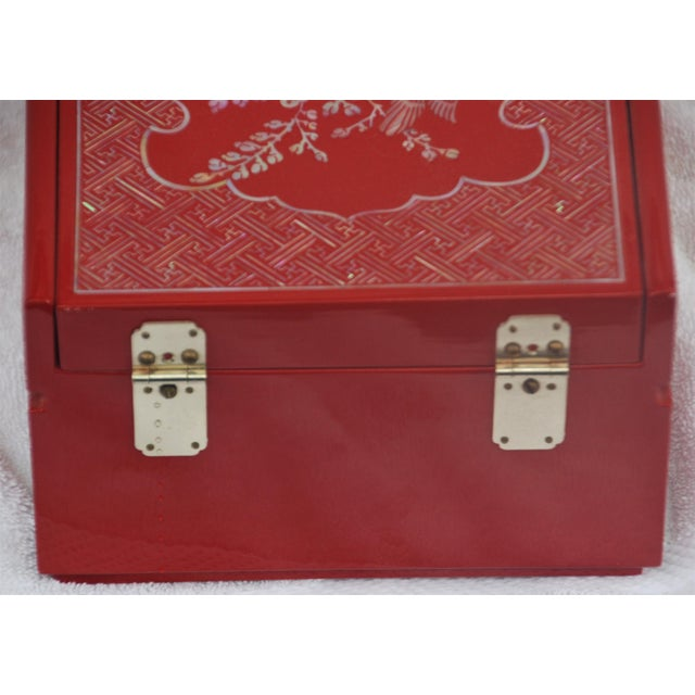 Red Lacquered Asian Jewelry Box - Image 9 of 9