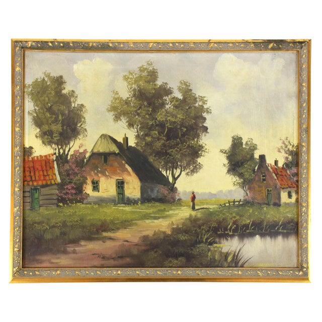 Vintage 1960s Cottage Barn Oil Painting - Signed and Framed For Sale