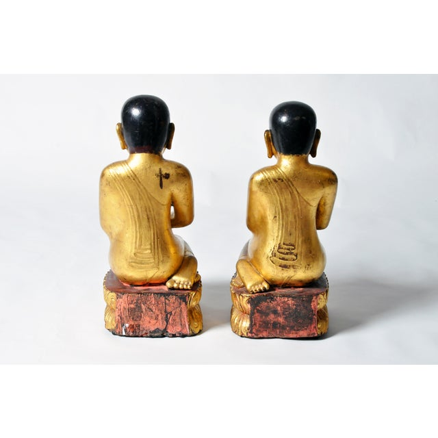 Giltwood Buddhist Apostles- A Pair For Sale - Image 4 of 11