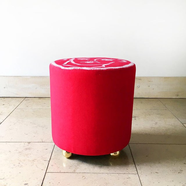 """A Unique Luke Edward Hall Hand Painted Maud Stool by Talisman Bespoke Created for """"Designed at Talisman"""" Collaborative..."""