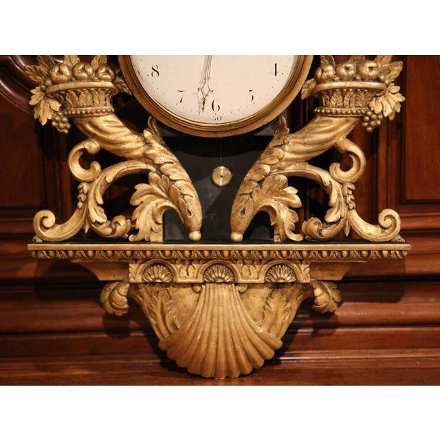 Baroque 18th Century French Louis XV Carved Gilt Fruit Basket and Shell Wall Clock For Sale - Image 3 of 10