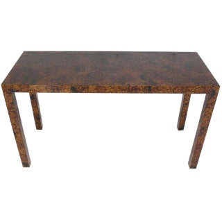 Mid Century Modern Tortoise Lacquer Finish Console Table For Sale