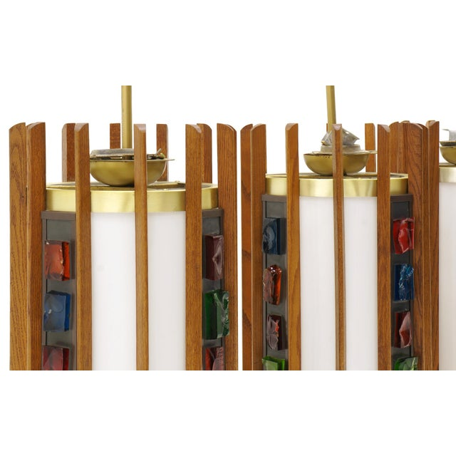 Gold 1960s Danish Teak Ceiling Lights / Chandeliers, Colorful Details. 10 available! For Sale - Image 8 of 10