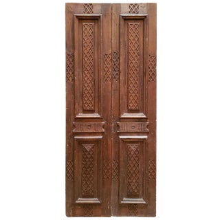 1960s Vintage Double Panel Moroccan Wooden Door For Sale