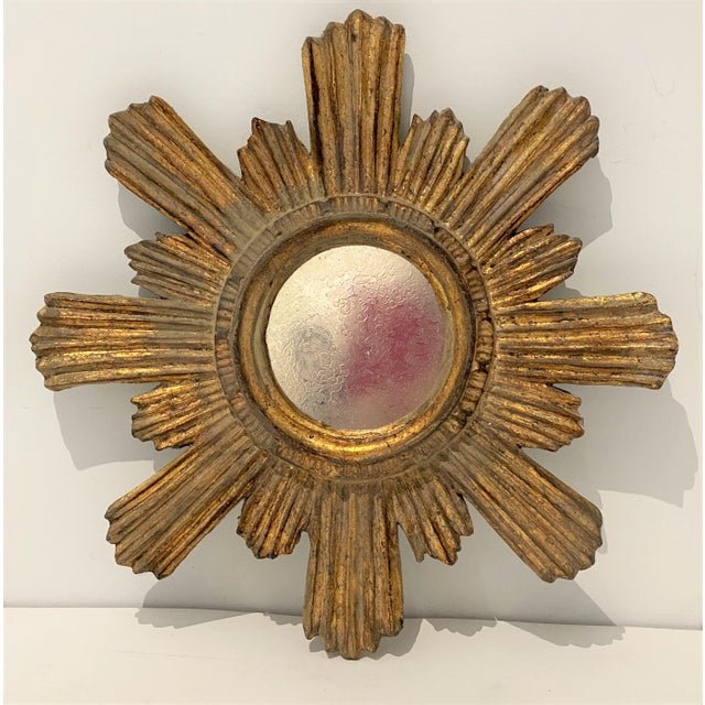 Mid-Century Florentine Giltwood Sunburst Antiqued Mirror For Sale - Image 11 of 11