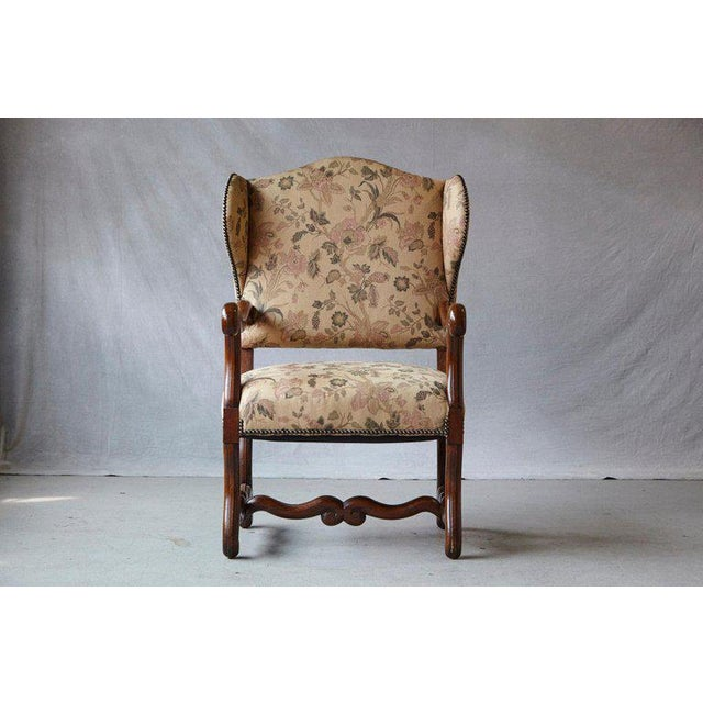 French Louis XIV Style Os De Mouton Walnut Wingback Fauteuils- A Pair For Sale - Image 3 of 11