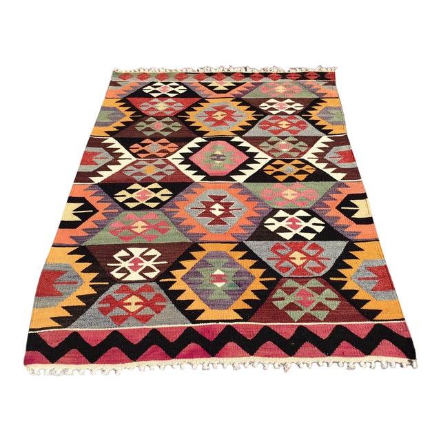 Colorful Vintage Turkish Kilim Rug For Sale