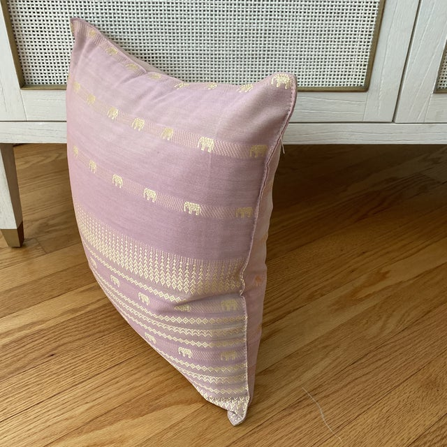 Contemporary Pink Thai Silk Pillow With Elephant Motifs For Sale In New York - Image 6 of 11