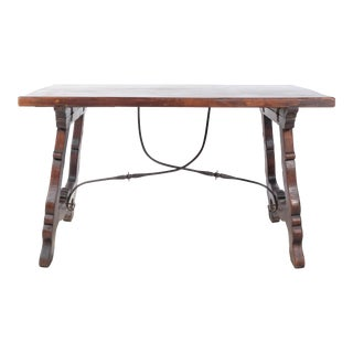 Early 20th-C. Rustic Trestle Dining Table With Metal Accent For Sale