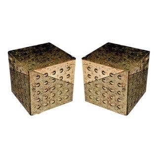 Silver Mirrored Glass Cubes - A Pair