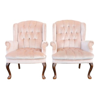Vintage French Provincial Blush Pink Velvet Tufted Wingback Chairs - a Pair For Sale