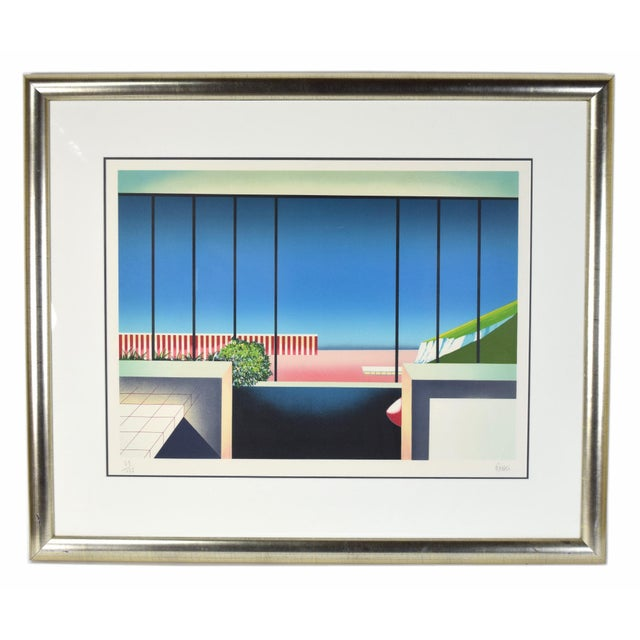 """Blue Vintage 1980's """"Mezzanine"""" Limited Edition Architectural Lithograph by Teddy Radko For Sale - Image 8 of 8"""
