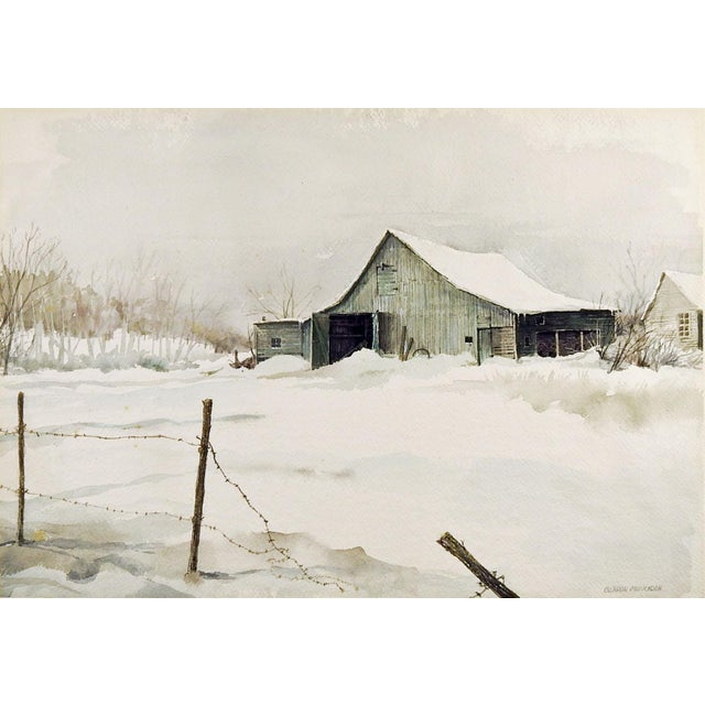 Barn in Winter by Gordon Morrison Watercolor Painting For Sale - Image 4 of 4