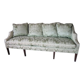 1940's Kittinger Hepplewhite Style Sofa With Silk Blend Damask Upholstery