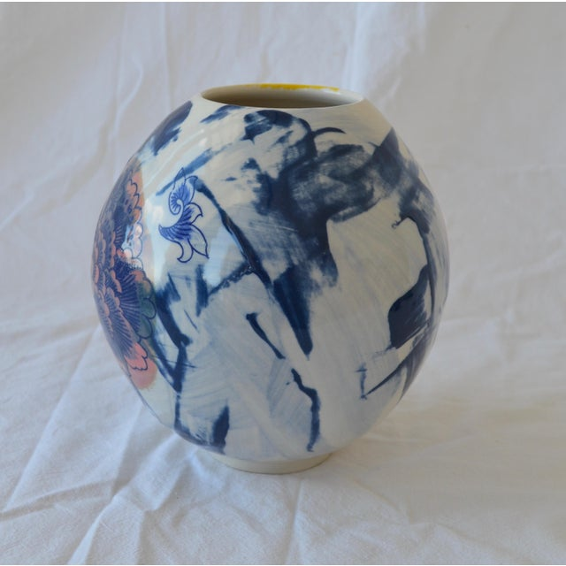 Contemporary Ceramic Chrysanthemum Moon Vessel For Sale - Image 4 of 6