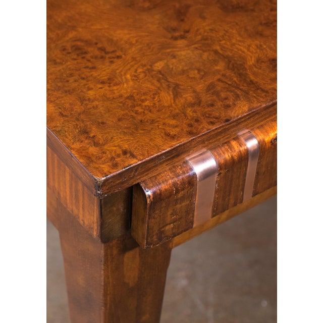 French Art Deco Burled Elm Table - Image 7 of 9