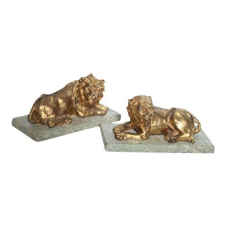 Fine Pair of Gilt Bronze Lion and Lioness on Marble Bases, Italy For Sale