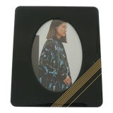 Image of Bakelike Hunter Green and Gold Picture Frame For Sale